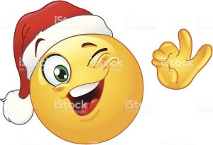 Winking emoticon wearing Santa hat